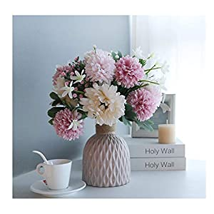 Artificial Flowers with vase,Plants Flowers Faux White Silk Hydrangea Bouquet Blend Chrysanthemum Suit, for Office Home Decor Indoor (White Pink)