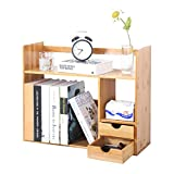 sogesfurniture Bambus Bücherregal klein Aktenregal Standregal Tisch Desktop Lagerregal, DIY...