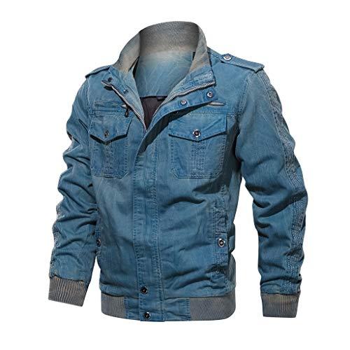 Dasongff Mannen Mantel Vintage Jeanjas Slim Fit gebreide jas Jeansjas Causal opstaande kraag winterjas windbreaker outwear bovenkleding