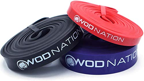 WOD Nation Pull up Assistance Band Set Best for Pullup Assist, Chin Ups, Resistance Band Exercise, Stretch, Mobility Work & Serious Fitness - Set of 41 inch Straps   1 Black 1 Red 1 Purple