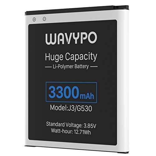 Galaxy J3 Battery, Upgraded 3300mAh Wavypo Li-ion Battery Replacement for Samsung Galaxy J3 J327A J327P J320V J320A J320F J320P EB-BG530BBC EB-BG530BBE/ Galaxy On5/ Galaxy Grand Prime SM-G530 Battery