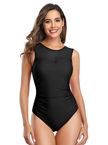 Summer Mae Women Mesh One Piece Swimsuit High Neck Tummy Control Ruched Slimming Monokini Bathing Suit Black 2XL