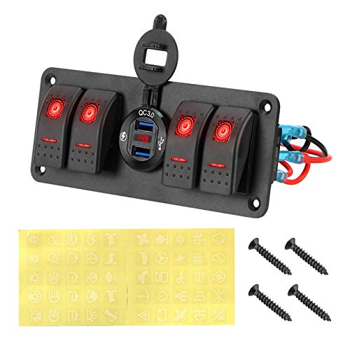 YINLONG Ajuste para Impermeable 4 pandillas LED LED Voltímetro Digital Panel de Interruptor de Interruptor de Rocker Marino Panel de Interruptor de automóvil 12 ~ Control de Circuito de 24V