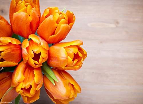 Tischsets I Platzsets - Frühling und Ostern - Orange Tulpen auf Holztisch - 12 Stück in toller Aufbewahrungsmappe - Die besondere Tischdekoration für Frühling und Ostern