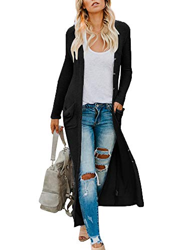 Imily Bela Womens Duster Cardigan Long Draped Maxi Knitted Lightweight Coat Sweater (Small, Black)