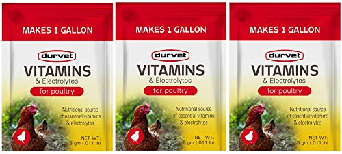 Durvet 3 Pack of Vitamins and Electrolytes for Poultry, 5 Grams, Makes 3 Gallons