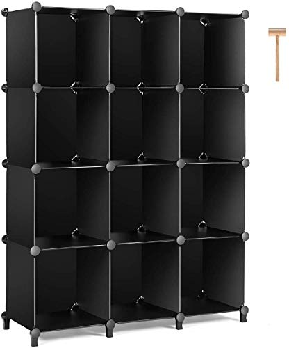 TomCare Cube Storage 12-Cube Bookshelf Closet Organizer Storage Shelves Shelf Cubes Organizer Plastic Book Shelf Bookcase DIY Square Closet Cabinet Shelves for Bedroom Office Living Room, Black