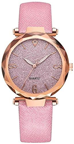 JZDH Mano Reloj Relojes de Mujer Relojes de Pulsera Simple y de Moda Correa de Cuero for Mujer Reloj Exquisito Rosa Oro Cuarzo Decoración de Cuarzo Reloj Rosa Relojes Decorativos Casuales