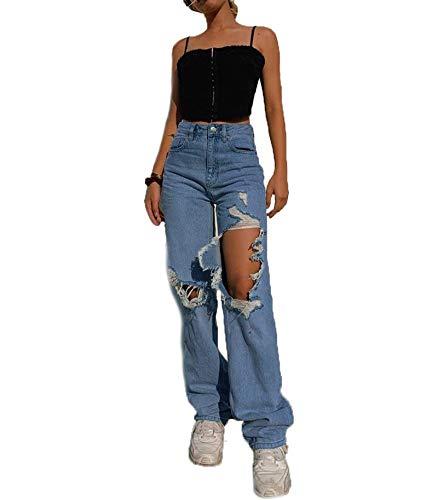 Loalirando Pantalon Jeans Femme Taille Haute Y2K Jeans Jambe Large Troué, Bleu S