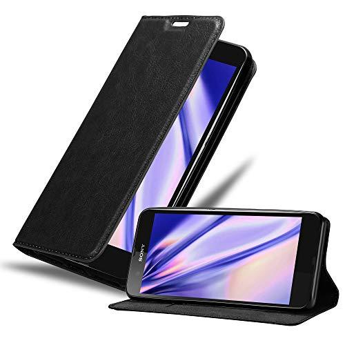 Cadorabo Hülle für Sony Xperia Z - Hülle in Nacht SCHWARZ – Handyhülle mit Magnetverschluss, Standfunktion und Kartenfach - Case Cover Schutzhülle Etui Tasche Book Klapp Style