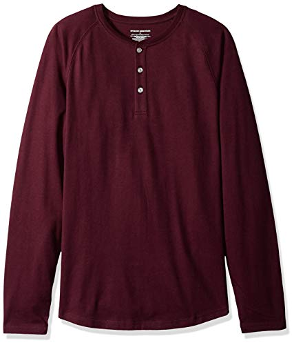 Amazon Essentials Men's Slim-Fit Long-Sleeve Henley Shirt, Burgundy, XX-Large