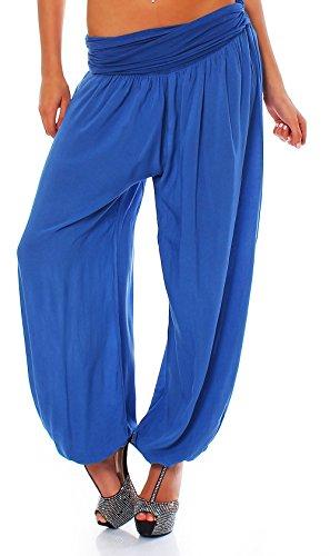 Malito Damen Pumphose in Uni Farben | Haremshose zum Tanzen | Aladinhose zum Chillen – Freizeithose 1482 (blau)