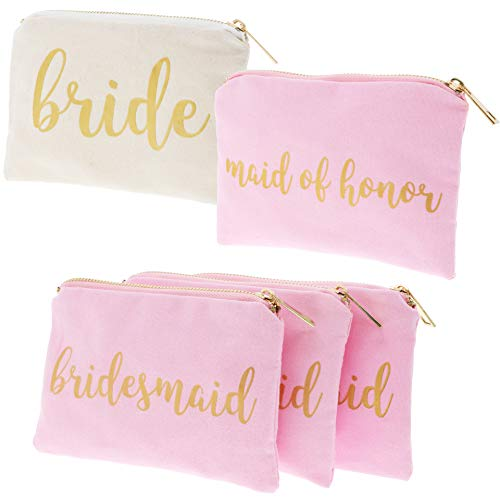 Bridal Shower Makeup Bag - 5-Pack Cosmetic Pouches for Wedding Favors, Bachelorette Party Gifts, and Bridal Shower Accessories, 7 x 5 Inches