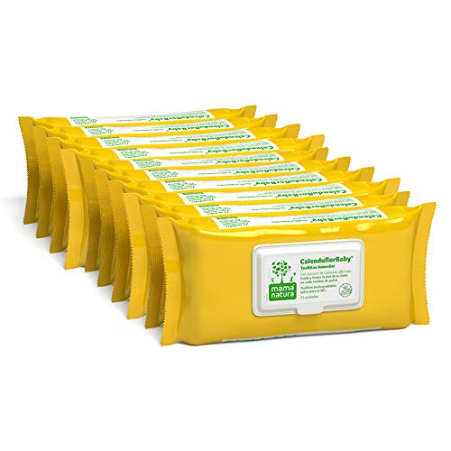 CalenduflorBaby Toallitas húmedas Bebé Mama Natura, Biodegradables con Extracto Calendula officinalis. 10 packs x 72 uds (720 unidades) - Aptas para el WC