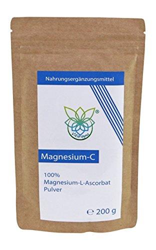 VITARAGNA Magnesium-C Pulver, Magnesium-Ascorbat als Reinsubstanz, Vitamin-C in Pulverform als leicht lösliches, 200 g Magnesiumascorbat