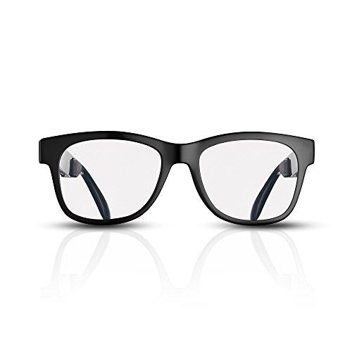 VOCALSKULL Occhiali da Sole a conduzione ossea Alien5, Auricolare Bluetooth, Montatura Nera Brillante (Trasparente).