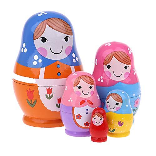 Fenteer 5-TLG Russische Matrjoschka, Mädchen Matroschka, Babuschka, Steckpuppe Puppen Spielzeug Dekoration - Mehrfarbig