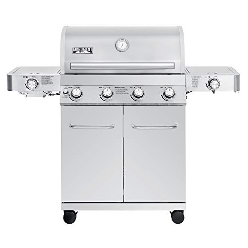 Monument Grills 24367 4-Burner Stainless Steel Propane Gas Grill with Side & Side Sear Burners, Built in Thermometer, and LED Controls Grills Propane