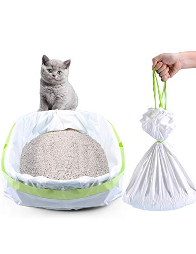 PETOCAT Litter Box Liners, 34 Count Jumbo Cat Litter Pan liners, Drawstring Litter Liner Bags For Litter Box, Easy Clean Up. Thick Large Kitty Litter Liner XL, Eco Friendly Pet Cat Supplies(36' x 19')