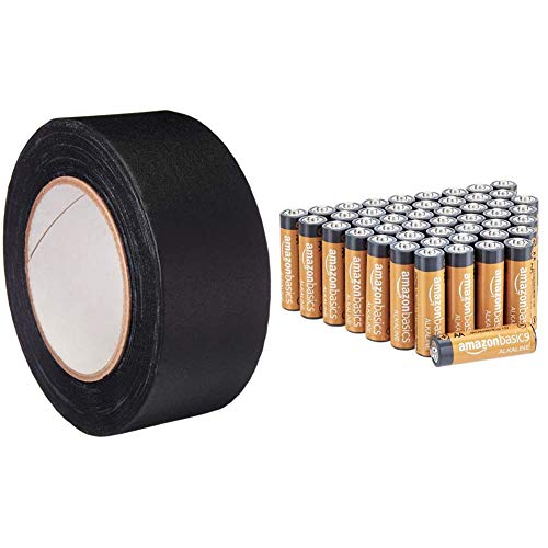 Amazon Basics No Residue, Non-Reflective Gaffers Tape - 2 Inch x 90 Feet, Black & 48 Pack AA High-Performance Alkaline Batteries, 10-Year Shelf Life, Easy to Open Value Pack