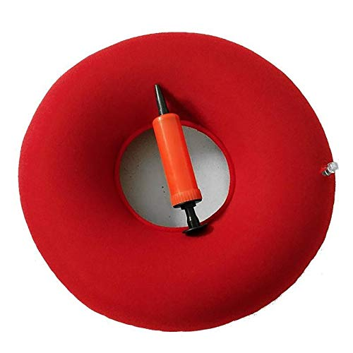 HNXCBH Inflatable Vinyl Ring Round Seat Cushion Medical Hemorrhoid Pillow Donut Free Pump Rubber Inflatable Seat Pad 34 * 12 cm #125 Seat Cushion (Color : Red)
