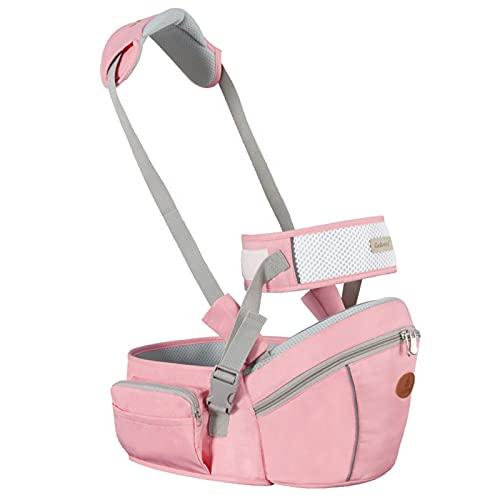 Asiento de la cadera del portador de bebé, 2-24 meses Baby Sling Taburete transpirable Taburete Walkers Hold Cinturón, Cinturón Niños Infantil Hip Asiento, Gris WDH666 (Color : Pink)