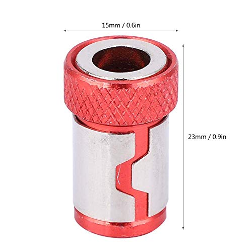 Screwdriver Magnetic Ring, Anti-Slip Aluminum Alloy Accessories Size Approx15 x 23mm Weight Approx 40g for 1/4 Screwdriver Bits 5Pcs Red Yellow(Red)