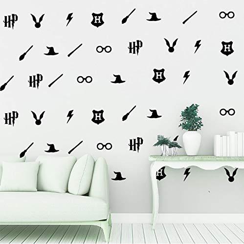 hfwh Pegatinas De Pared - 8cmx50 Piezas Harry Potter Arte Vinilo Calcomanía Pegatina Oro Spike Lightning Escoba Clasificación Cap Escoba