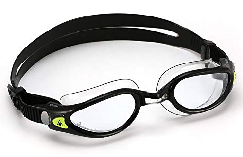 Aqua Sphere Kaiman Exo Swim Goggle, Designed for Smaller Faces, Made in Italy, Clear Lens/Black/Clear, Small Fit