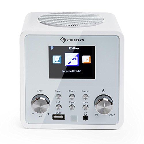 AUNA IR-120 Radio de Internet - MP3, WMA, Acc, Wi-Fi, conexión USB y AUX, Alarma, Autoapagado, 15000 emisoras, Mando a Distancia, Blanco