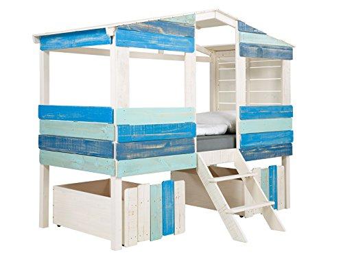 massivum Kinder-Bett Safari 221x179x100 cm aus Holz Pinie massiv weiß und blau lackiert Jungen-Bett für Kinderzimmer Liegefläche 90x200 cm