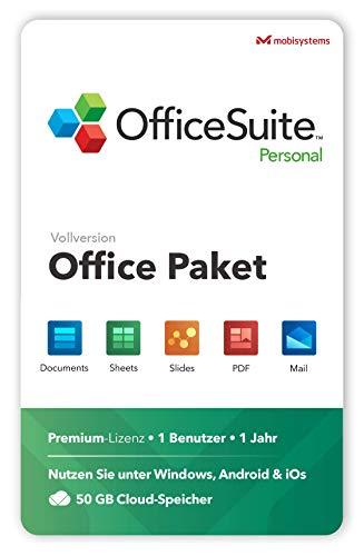 OfficeSuite Personal – Vollversion – Documents, Sheets, Slides, PDF, Mail und Calendar für 1 Windows PC & 2 Mobile Geräte / 1 Jahres-Lizenz