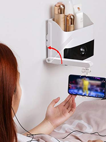 Unistore Bedside Wall Mount Floating Bookcase Phone clamp. Glue Nail Fixed Writing Supplies Rack Open Drawer Organizer. Nordic Design Modern Storage Shelf Installation Hammer Included [White]