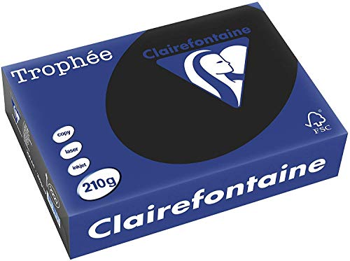 Clairefontaine 2227C Druckerpapier Trophée, für alle Laserdrucker, Kopierer und Tintenstrahldrucker, DIN A4 (21 x 29,7 cm), 210g, 1 Ries mit 250 Blatt, Schwarz