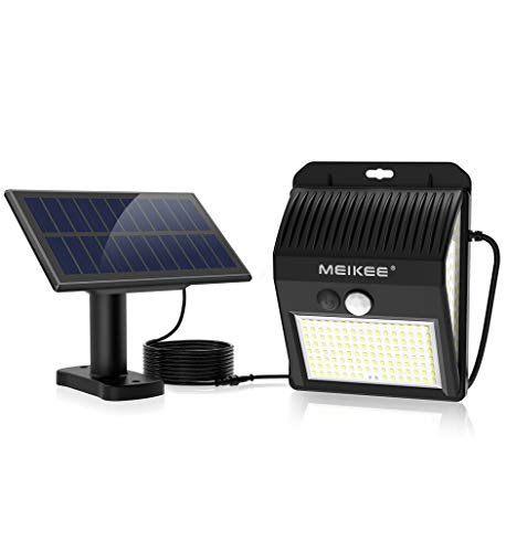 MEIKEE ソーラーライト 屋外 センサーライト 人感 明暗 センサー 分離型 ガーデンライト 防犯ライト 壁掛け式【最新版200LED】3面発光 270°照明範囲 明暗センサー 自動点灯/消灯 常時点灯 人感点灯 IP65防水 8時間連続照明可能 高輝