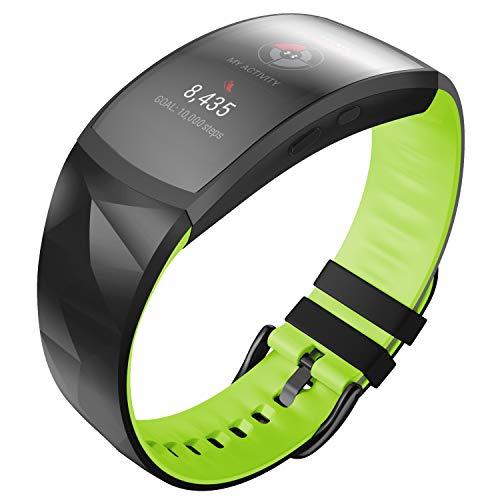 ANBEST Pulsera de Silicona Compatible con Samsung Gear Fit 2/Gear Fit 2 Pro Correa de Repuesto para Gear Fit 2 Pro SM365/Gear Fit 2 SM-360 Smart Watch, Grande, Negro/Verde