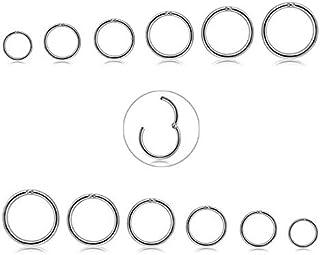 CASSIECA 12 Unids 16G de Acero Inoxidable Nariz Piercing Aro Pendientes para Las Mujeres Niñas Anillo de Piercing de Nariz...