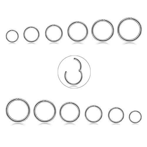 CASSIECA 12 Unids 16G de Acero Inoxidable Nariz Piercing Aro Pendientes para Las Mujeres Niñas Anillo de Piercing de Nariz Pierna del Labio Joyería del Cuerpo 6-16mm