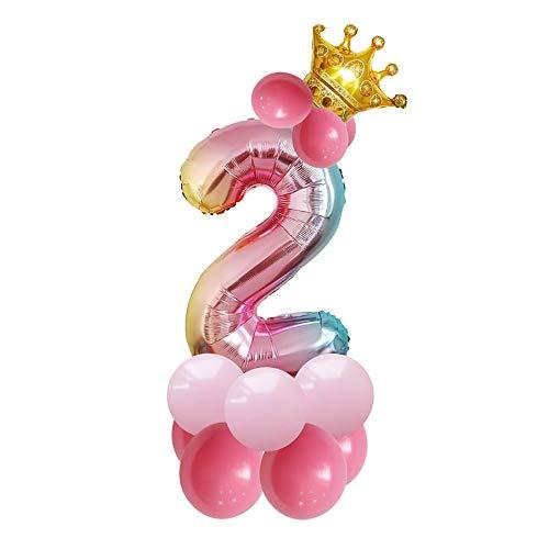 JinSu 2 Jahre Geburtstag Zahlen Luftballons für Kinder, 14 Stück Geburtstag Deko mit Folie Krone Ballon und Latex Ballons für Geburtstag Dekoration (2)