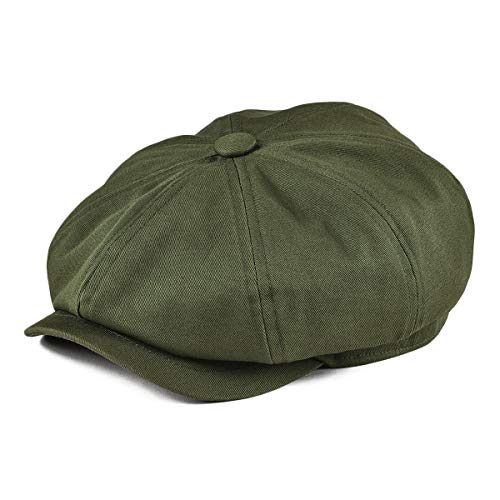 BOTVELA Men's 8 Piece Newsboy Flat Cap 100% Cotton Gatsby Ivy Golf Cabbie Hat (Green, M)
