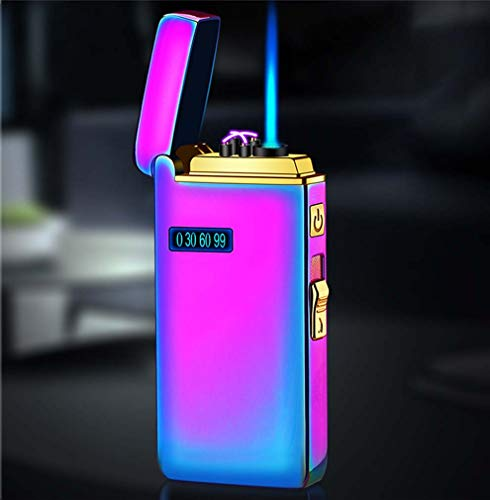 New Windproof Metal USB Torch Lighter Jet Turbo Dual Arc LED Lighters Butane Gas Pipe Powerful Outdoor Spray Gun Lighter - Rechargeable Lighter for Camping,Hiking,Adventure - Best Gift (Rainbow)