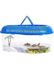Sahgsa Reptil Recipiente de alimentación Recipiente de cría de Tortuga de Agua Caja con Tapas Elevadoras para hábitat de Reptiles