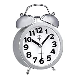 TIMETOP Small Twin Bells Quartz Movement Silent Sweeping Alarm Clock Battery Loud Double Bell Retro Alarm Clock(Silver)
