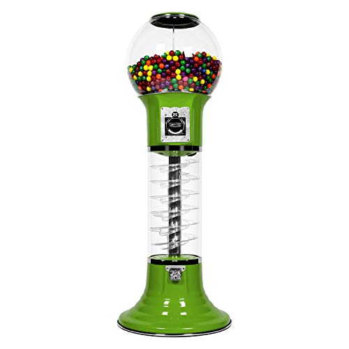 """Gumball Machine for Kids Green Vending Machine 4'10"""" $0.25 Spiral Candy Machine with Dispenser for Gum - Gumballs - Bubble Gums - Bouncy Balls - Toys"""