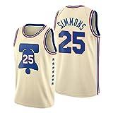 ZYJL Běn Simmons - Camiseta de baloncesto para hombre, 2021 Nueva temporada 76ers #25 edición bonificada de malla transpirable y resistente al desgaste (S-XXL) M