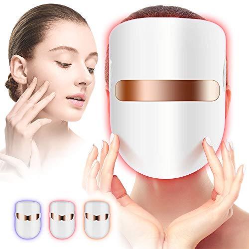 Yofuly LED Gesichtsmaske, 3 USB Farben Therapiemaske Photonentherapie Maske für Gesicht Anti-falten Akne Entfernung Hautverjüngung Poren schrumpfen Ölige Haut Anti Aging Therapie Beauty