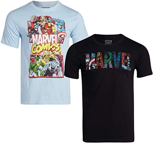 Marvel Comics Men's 2 Pack Avengers & Deadpool T-Shirts - Cotton Short Sleeve Superhero Graphic Tee, Marvel Black/Light Blue, Size X-Large