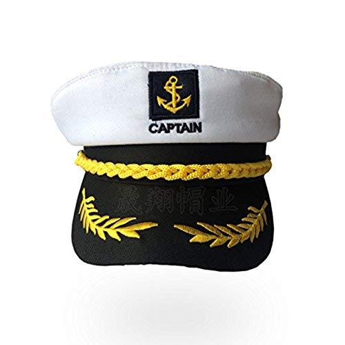 Gorra capitán hombres mujeres negro blanco - Disfraz para Adultos y Niños - Perfecto para Carnaval - Talla única