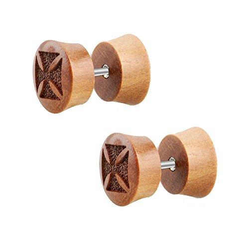 2pieza Cruz de Hierro Madera Fake Plug Pendientes Laser marrón pendientes túnel Diámetro 10mm