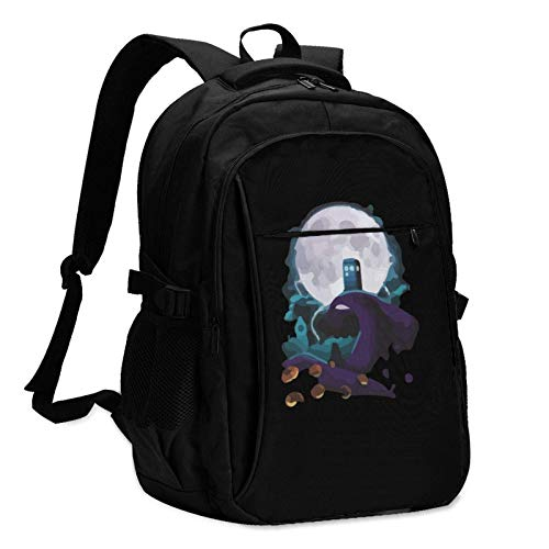 Travel Laptop Rucksack, Tardis und Albträume Travel Laptop Rucksack Schultasche Outdoor-Schultertasche mit USB-Ladeanschluss AntiTheft Herren- und Damenrucksäcke